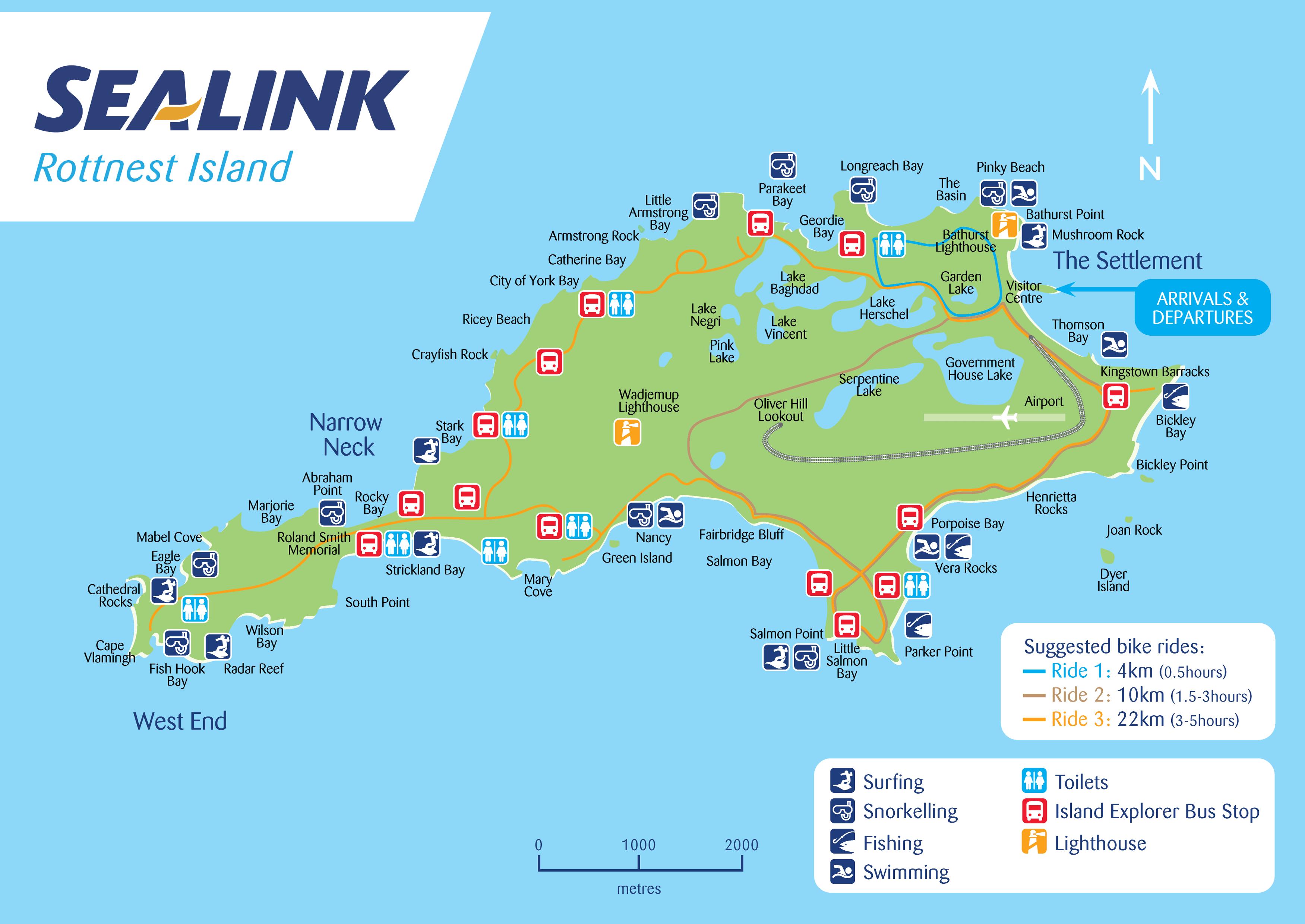Map Of Rottnest Rottnest Island Map   SeaLink Rottnest Island Map Of Rottnest